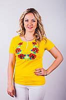 Женская футболка-вышиванка желтого цвета р 42-50