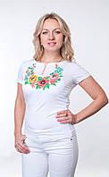 Женская футболка-вышиванка белая Маки и Васельки, р 42-50