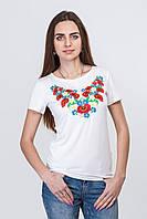 Женская футболка с вышивкой Маки 2, р 42-50