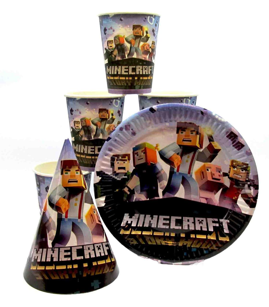 """Набор """"Minecraft 2"""". Тарелки (18см) -10шт. Стаканчики (250мл) -10шт. Колпачки (16см) -10шт."""