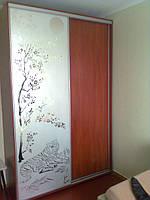 Шкаф-купе, наполнение дверей: зеркало с пескоструйным рисунком, ДСП