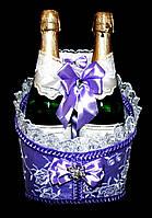 """Свадебная корзинка для шампанского """"Роскошь"""" сирень"""