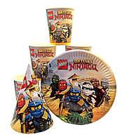 "Набор ""Ninjago 2"". Тарелки (18см) -10шт. Стаканчики (250мл) -10шт. Колпачки (16см) -10шт."