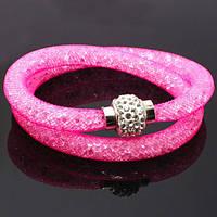 Браслет Stardust Swarovski розовый двойной на магнитной застежке