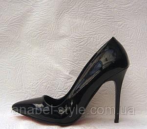 Туфли лодочки женские стильные лаковые черные на шпильке, фото 2