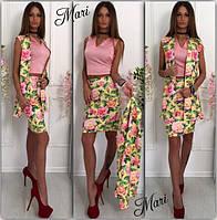 Костюм-тройка шелковый топ+цветочная юбка и жилетка