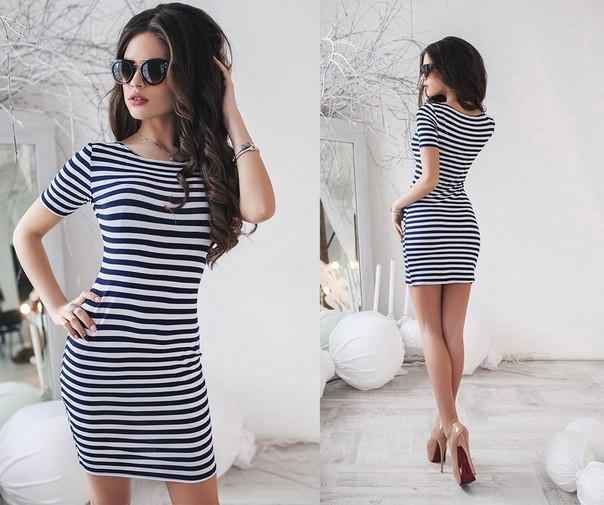 b401b9ff653 Модное женское летнее платье - тельняшка в полоску -