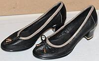Туфли на невысоком каблуке с бантиком кожаные модель Т2В8, фото 1