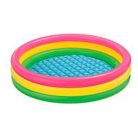 Бассейн с надувным дном Intex 57412, круг, 4 кольца, закат солнца, 114-26см, объем: 173 литра