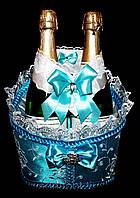 """Свадебная корзинка для шампанского """"Роскошь"""" голубая"""