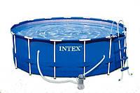 Бассейн Intex 28236 каркасный Ø 457х122 (фильтр насос, лестница, тент, подстилка)