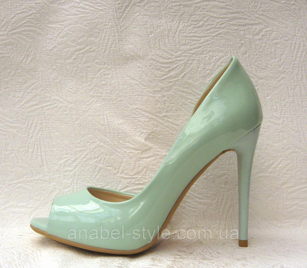Туфли с открытым носком на шпильке лаковые мята