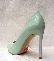 Туфли с открытым носком на шпильке лаковые мята, фото 2