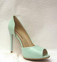 Туфли с открытым носком на шпильке лаковые мята, фото 3