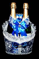 """Свадебная корзинка для шампанского """"Роскошь"""" синяя"""