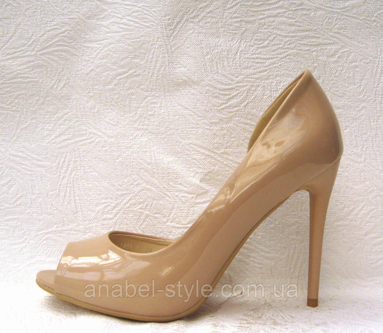 Туфли с открытым носком на шпильке лаковые бежевые - интернет-магазин