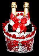 """Свадебная корзинка для шампанского """"Роскошь"""" красная"""