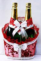 """Свадебная корзинка для шампанского """"Роскошь"""" бело-красная"""