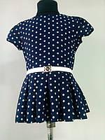 """Нарядная школьная блузка- туничка  """"Горошек""""  синяя для девочки 6-12 лет"""