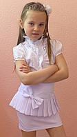 """Школьная юбка, юбка для девочек """"Баска"""" белый, р-ры 28-38"""