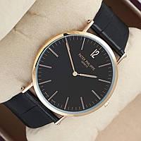 Мужские (Женские) кварцевые наручные часы Patek Philippe Calatrava на кожаном ремешке