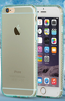Голубой силиконовый чехол с камнями Сваровски для Iphone 6