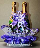 """Свадебная корзинка для шампанского """"На счастье"""" сирень"""