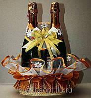 """Свадебная корзинка для шампанского """"На счастье"""" золото"""