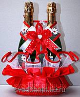 """Свадебная корзинка для шампанского """"На счастье"""" красная"""