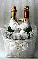 """Свадебная корзинка для шампанского """"Роскошь"""" белая"""
