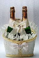 """Свадебная корзинка для шампанского """"Роскошь"""" айвери"""