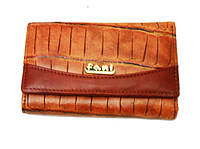 Кошелек Fani 040-8830 светло-коричневый женский натуральная кожа на кнопке тройного сложения монетница снаружи