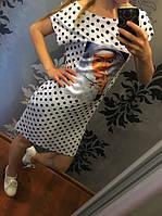 Платье-туника белый горох норма  обл93