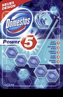 Domestos WC-Stein Power 5 Ocean - Туалетный блок с хлором ароматом океанской свежести, 55 г