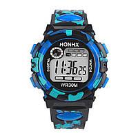Часы наручные электронные с подсветкой Сamouflage blue (∅40 мм