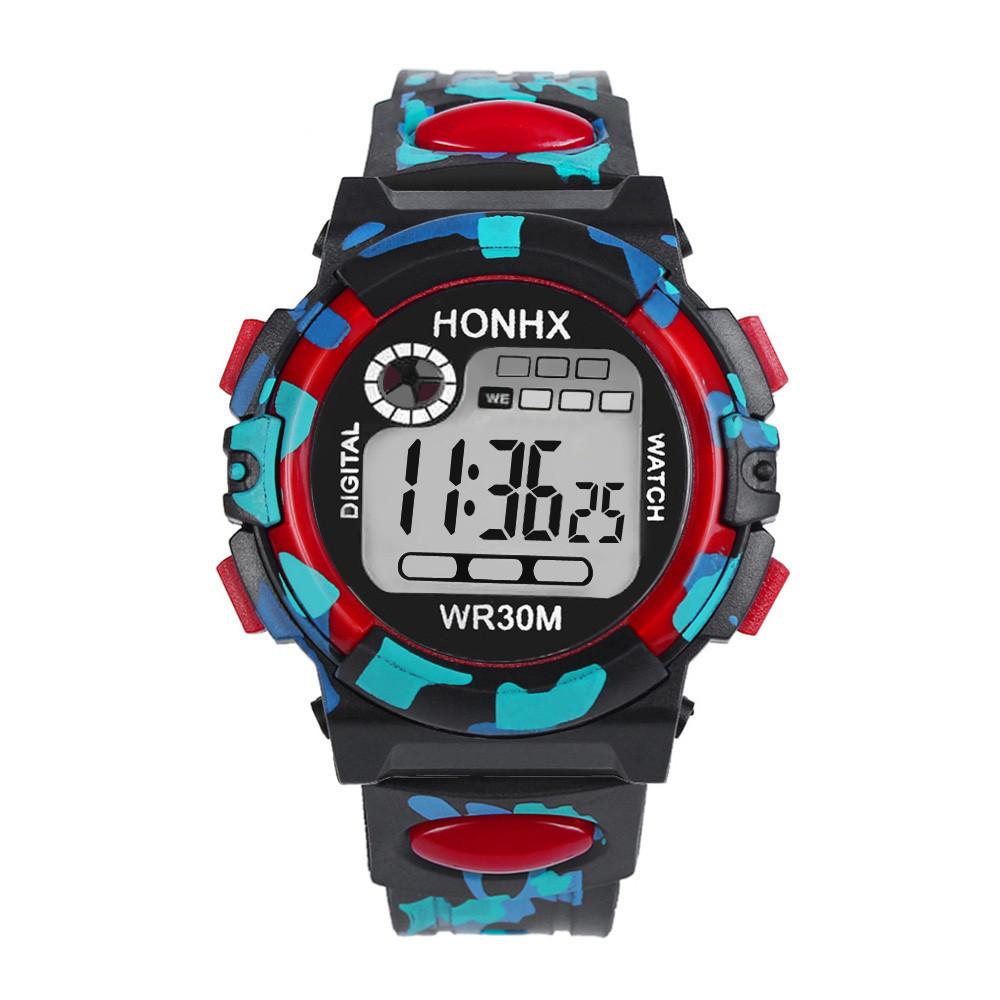 Часы наручные электронные с подсветкой Сamouflage red (∅40 мм