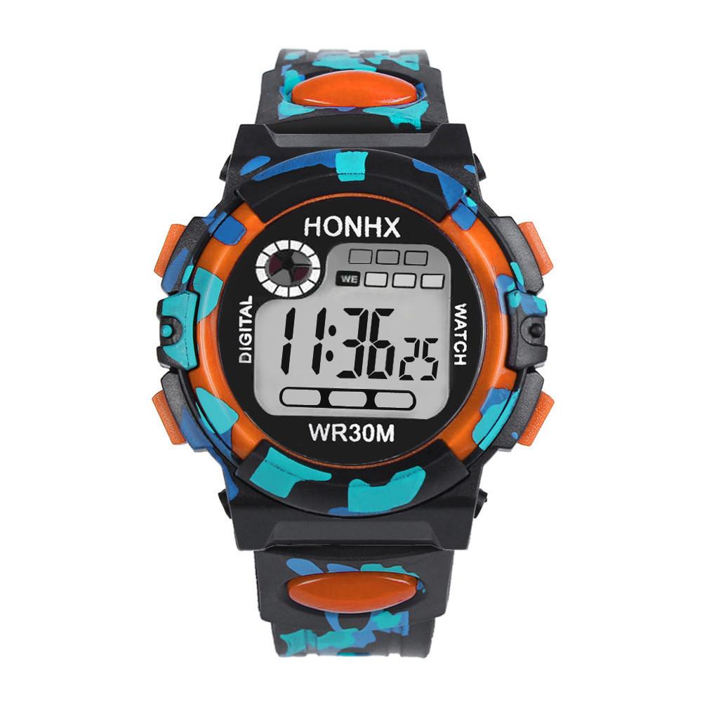 Часы наручные электронные с подсветкой Сamouflage orange (∅40 мм