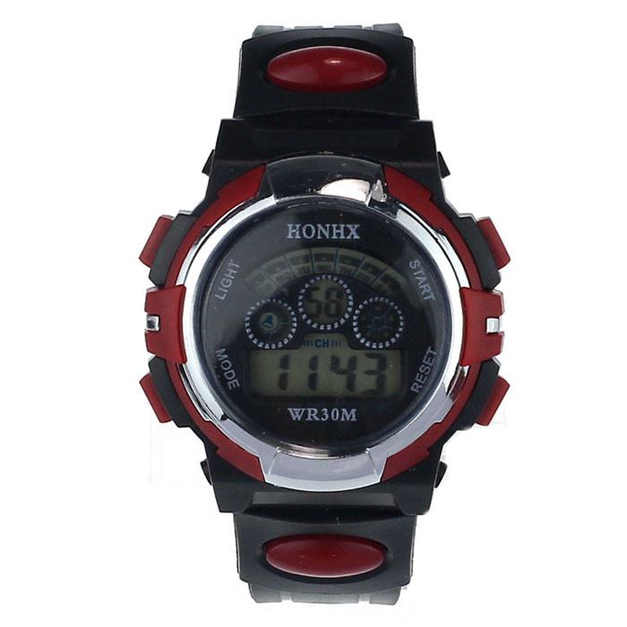 Спортивные часы с секундомером, будильником и неоновой подсветкой (∅40 мм) Honhx-Sport red