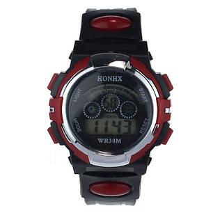 Спортивные часы с секундомером, будильником и неоновой подсветкой (∅40 мм) Honhx-Sport red, фото 2