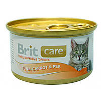 "Brit Care Cat k 80g, тунец, морковь и горох - консервы для кошек ""Tuna, Carrot & Pea"""