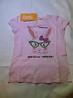 Хлопковая футболка для девочки  (ЗАЙКА)