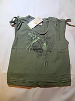 Хлопковая футболка для девочки  (зеленая)