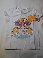 Хлопковая футболка для девочки  (с принтом белая)
