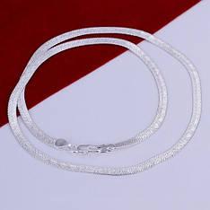Цепочка плоская Змейка покрытие серебро