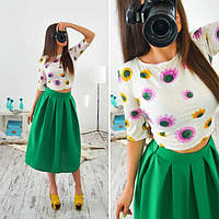 Костюм летний женский топ и юбка миди разные цвета SMb316