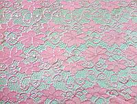 Стрейч-гипюр нежно-розовый в мелкий узор