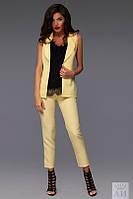 Костюм женский Стильный с брюками 7/8 и жакетом цвет жёлтый
