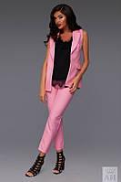 Костюм женский Стильный с брюками 7/8 и жакетом цвет розовый