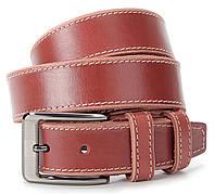 Элегантный кожаный брючный ремень светло-коричневого цвета SHVIGEL 00804
