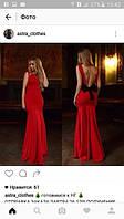 Платье вечернее , в пол, спина открытая, ткань креп дайвинг, цвет черный и красный , длина 165 см аа № 711